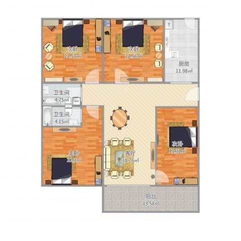 华鸿水云轩4室1厅2卫1厨208.00㎡户型图
