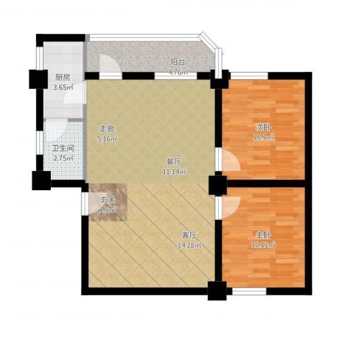 纵横白领公寓2室1厅1卫1厨91.00㎡户型图