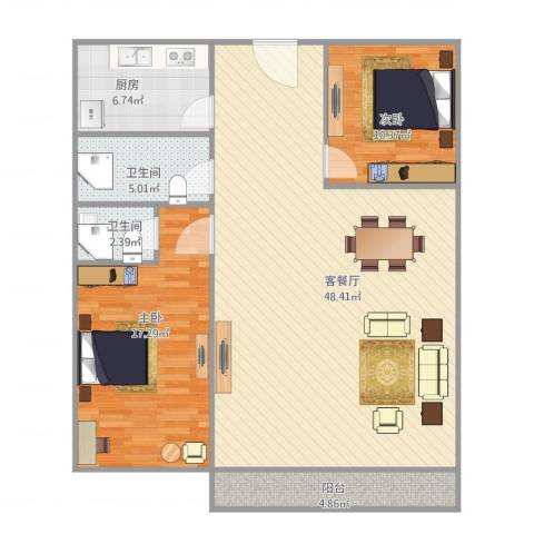 华鸿水云轩2室1厅2卫1厨127.00㎡户型图