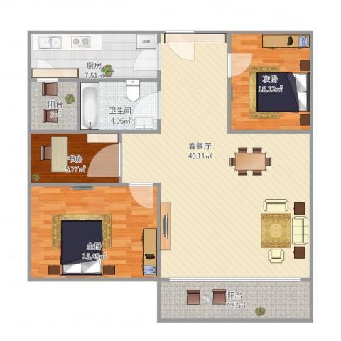 华鸿水云轩3室1厅1卫1厨127.00㎡户型图