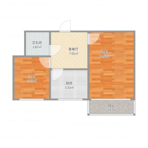 东南小区2室1厅1卫1厨57.00㎡户型图