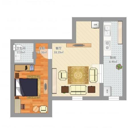 新华联家园1室1厅1卫1厨61.00㎡户型图