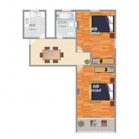 罗山七村博山东路173弄8号601室2-1-12室1厅1卫1厨66.00㎡户型图