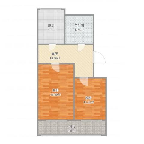 泉涌街2室1厅1卫1厨83.00㎡户型图