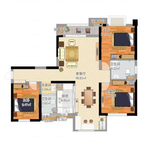 中海琴台华府3室1厅5卫5厨131.00㎡户型图
