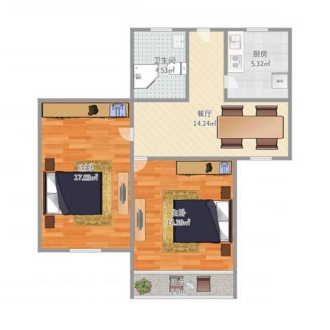 罗山七村博山东路173弄16号603室2-1-12室1厅1卫1厨79.00㎡户型图