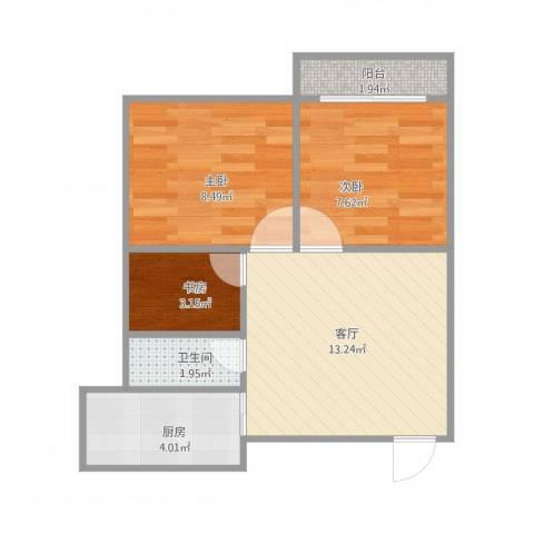叙康里3室1厅1卫1厨56.00㎡户型图
