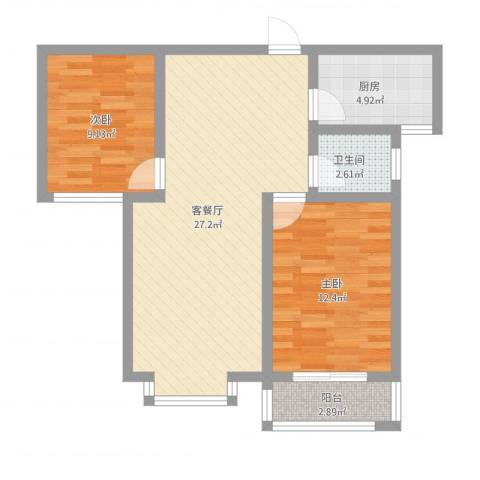 东方世纪城2室1厅1卫1厨86.00㎡户型图
