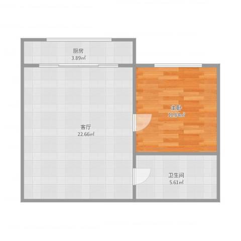 隆春里1室1厅1卫1厨58.00㎡户型图