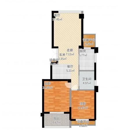 江南一品园2室1厅1卫1厨112.00㎡户型图