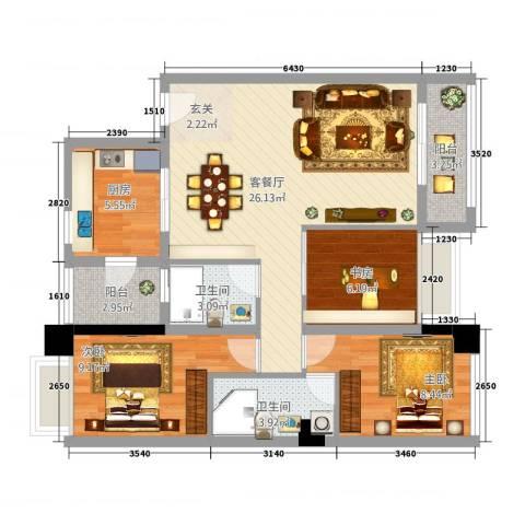 东华・星域3室1厅2卫1厨100.00㎡户型图