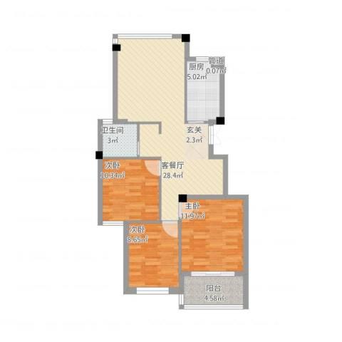 江南一品3室1厅1卫1厨101.00㎡户型图