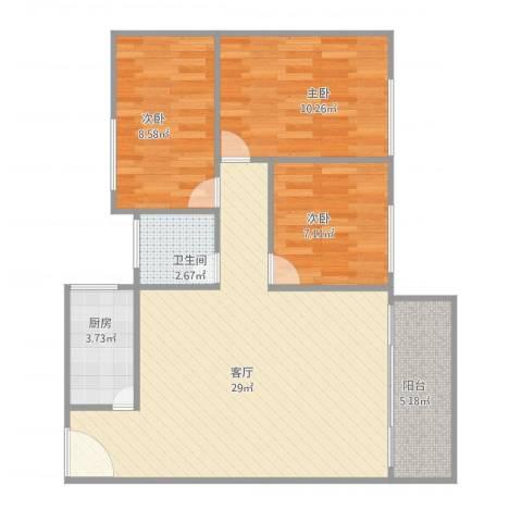明珠广场3室1厅1卫1厨90.00㎡户型图
