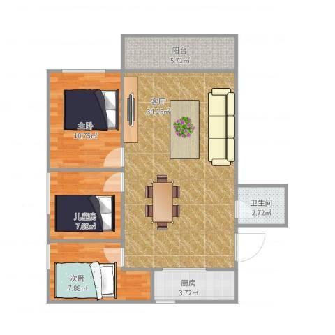 祥店新村3室1厅1卫1厨98.00㎡户型图