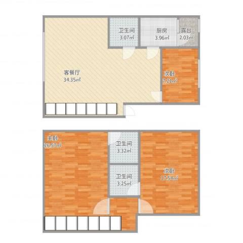 华侨苑复式楼三房两厅三卫3室1厅3卫1厨135.00㎡户型图