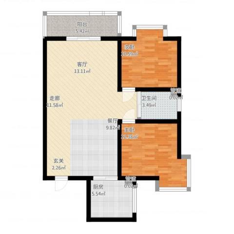 水岸清城2室1厅1卫1厨106.00㎡户型图