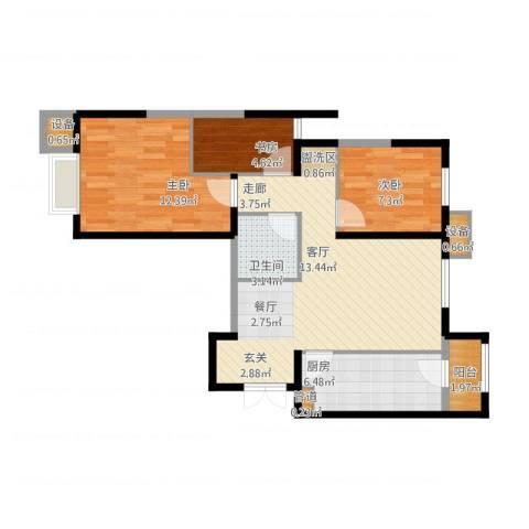 富力城・龙栖谷3室1厅1卫1厨87.00㎡户型图