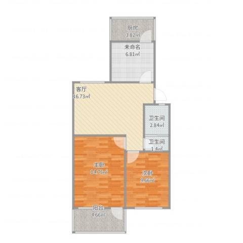 金牛小区2室1厅2卫1厨83.00㎡户型图