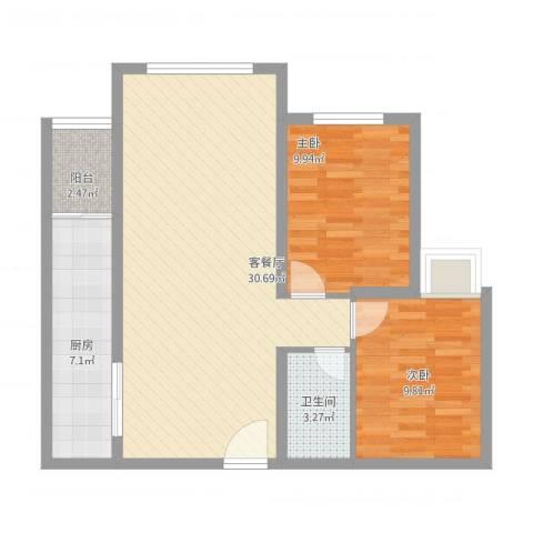 德邦广场2室1厅1卫1厨90.00㎡户型图