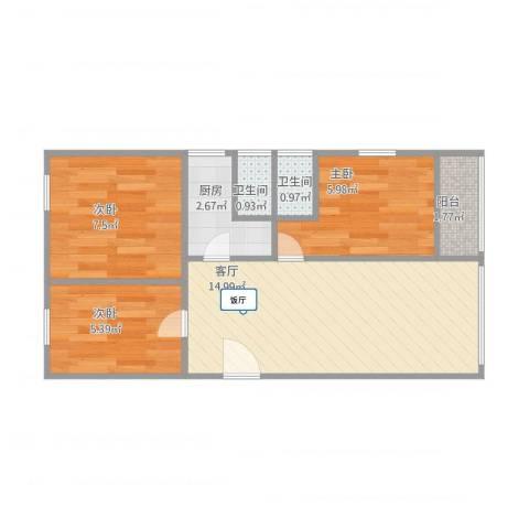 华远西小区3室1厅2卫1厨56.00㎡户型图