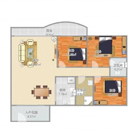 华鸿水云轩3室1厅2卫1厨175.00㎡户型图