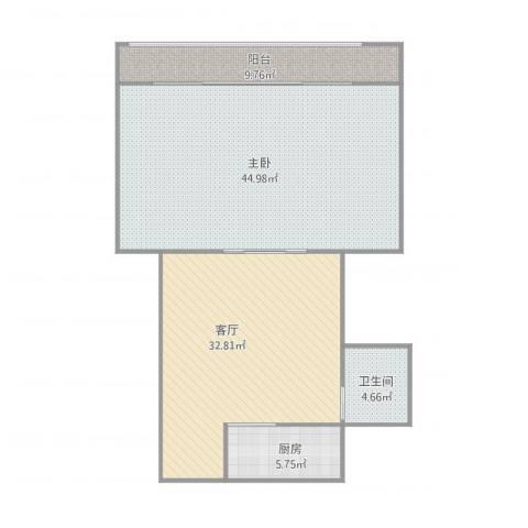 赵苑西里1室1厅1卫1厨129.00㎡户型图
