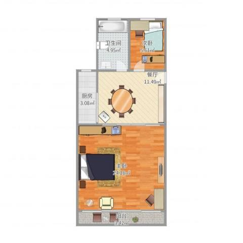 万荣小区2室1厅1卫1厨71.00㎡户型图