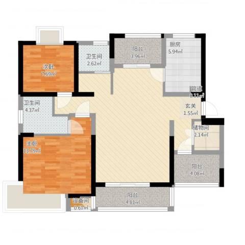中凯城市之光2室1厅2卫1厨122.00㎡户型图