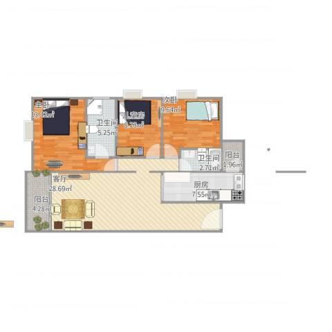 都市玫瑰苑14座7033室1厅2卫1厨111.00㎡户型图