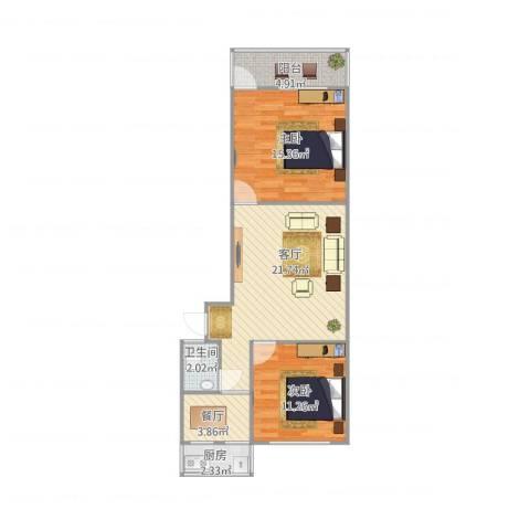 洪苑小区2室2厅1卫1厨83.00㎡户型图