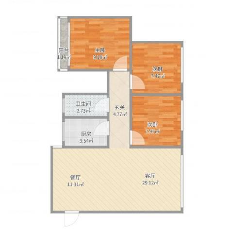 金沙新城3室1厅1卫1厨82.00㎡户型图