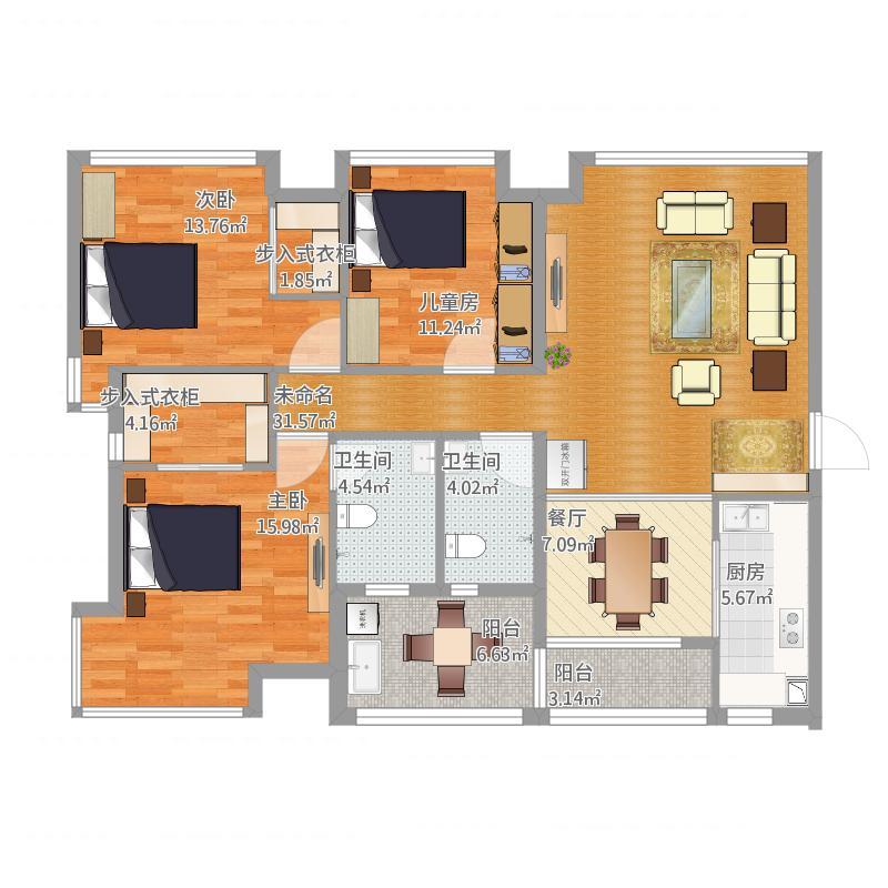 金东国际三室两厅165平