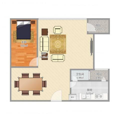 华鸿水云轩1室1厅1卫1厨78.00㎡户型图