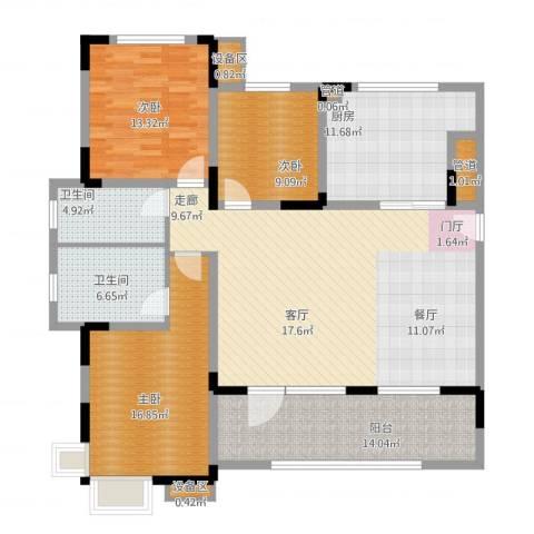 泰达风景3室1厅6卫1厨169.00㎡户型图