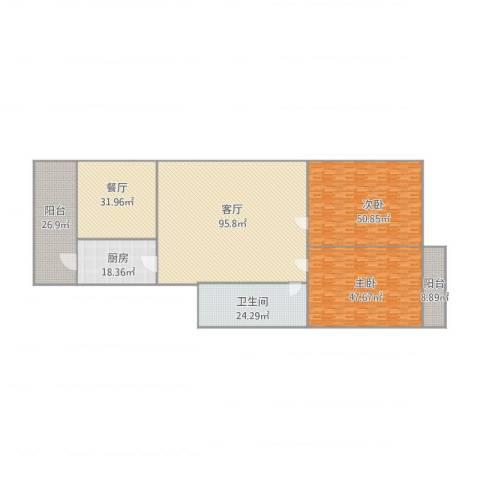 铁路玉函小区2室2厅1卫1厨396.00㎡户型图