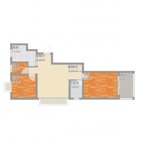 维也纳花园3室1厅1卫1厨108.00㎡户型图