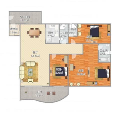 华鸿水云轩3室1厅3卫1厨265.00㎡户型图
