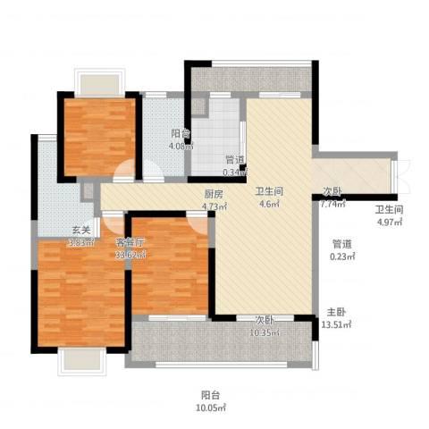 黄山湖公馆3室1厅2卫1厨139.00㎡户型图