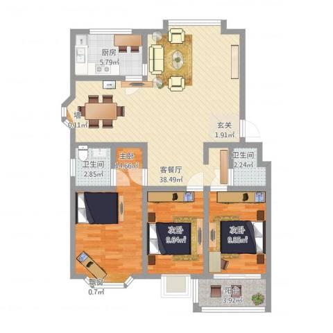 永大明珠・东山花园3室1厅2卫1厨126.00㎡户型图
