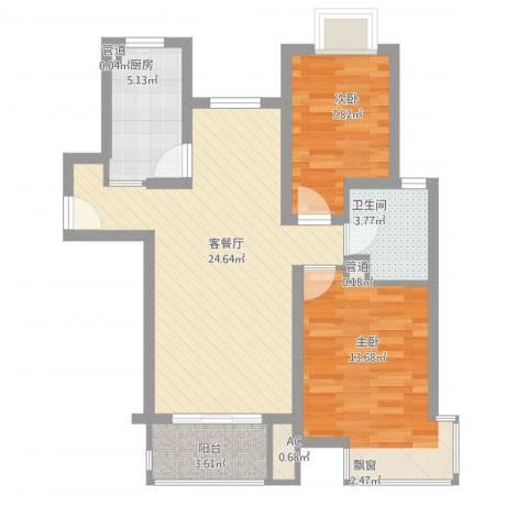 爱庐世纪新苑2室1厅1卫1厨86.00㎡户型图
