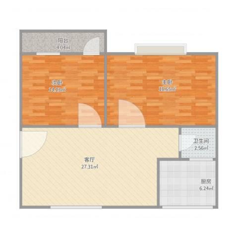 红棉新村2室1厅1卫1厨98.00㎡户型图