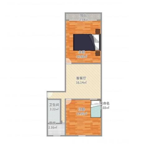 贝尔新村2室1厅1卫1厨75.00㎡户型图
