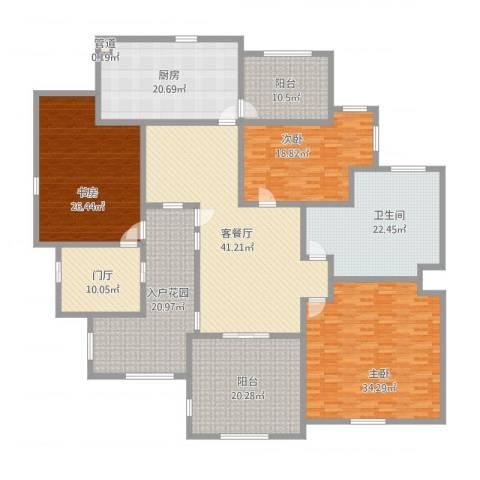 珠江国际城别墅3室1厅3卫1厨314.00㎡户型图