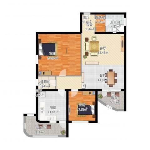名人时代商务区2室1厅1卫1厨158.00㎡户型图