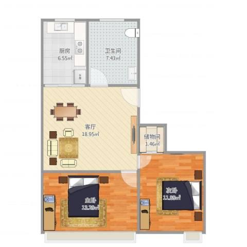 紫叶小区2室1厅1卫1厨80.00㎡户型图