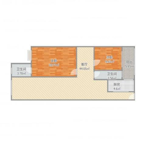 碧翠豪城2室1厅2卫1厨124.00㎡户型图