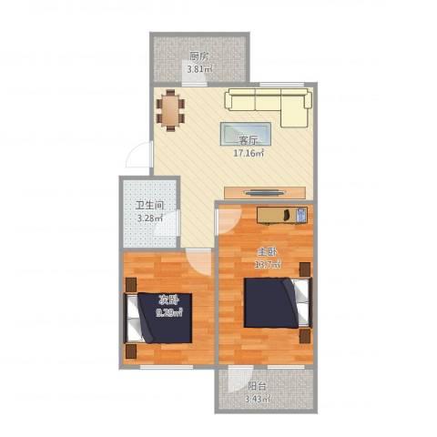 金容花园2室1厅1卫1厨69.00㎡户型图