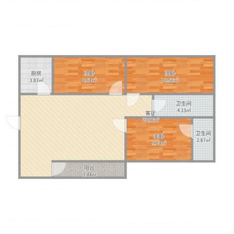 购物中心3室1厅2卫1厨95.00㎡户型图
