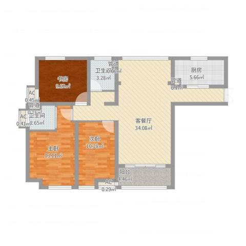 步阳御江金都3室1厅2卫1厨124.00㎡户型图