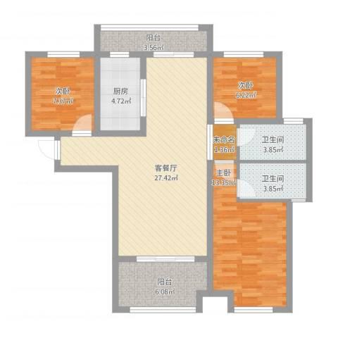 金地三千府3室1厅3卫1厨114.00㎡户型图